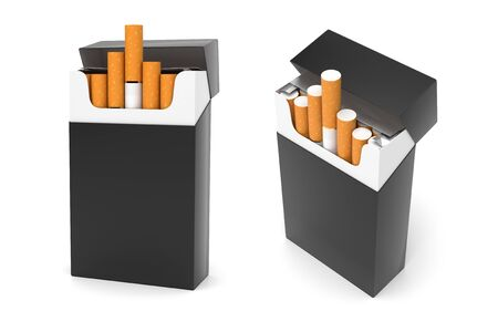 Black packs of cigarettes. 3d rendering illustration isolated on white background Zdjęcie Seryjne