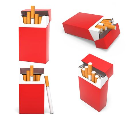 Red blank packs of cigarettes. With brown filter. 3d rendering illustration isolated on white background