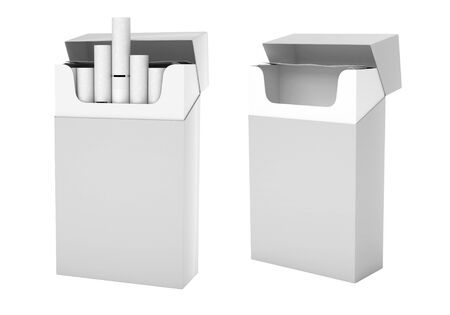White pack of cigarettes with white filter. Open empty and full packs. 3d rendering illustration isolated on white background