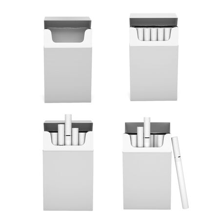 White blank packs of cigarettes. With white filter. 3d rendering illustration isolated on white background