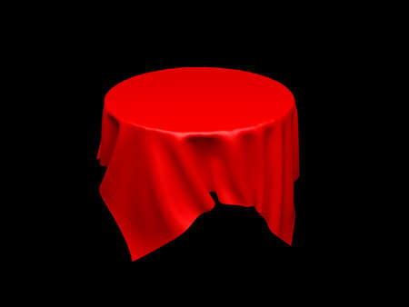 Red tablecloth on invisible round table. On black background. 3d rendering illustration Foto de archivo - 150686558