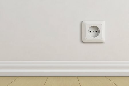 Electric socket on beige wall. 3d rendering illustration.