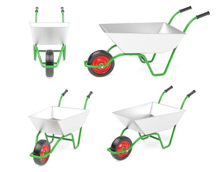 Metal garden barrow. Set. 3d rendering illustration isolated on white background Zdjęcie Seryjne