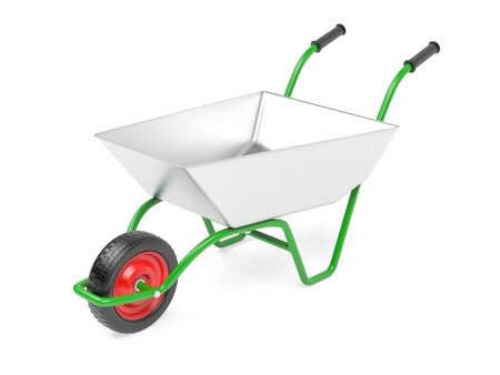Garden barrow on one wheel. 3d rendering illustration isolated on white background