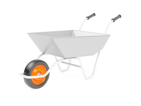 Metal garden barrow. 3d rendering illustration isolated on white background