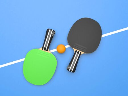 Green and black table tennis rackets with ball. On blue background. Top view. 3d rendering illustration