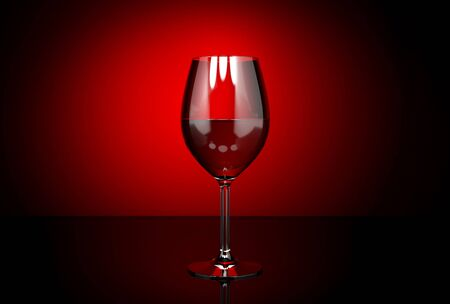 Wine glass with red wine. On dark red background. 3d rendering illustration Stock Photo