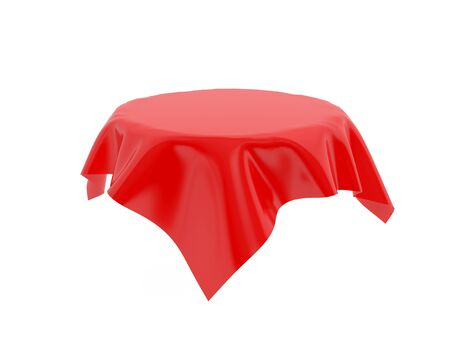 Red tablecloth on invisible round table. 3d rendering illustration isolated on white background