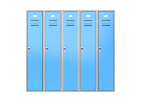Blue gym closed lockers. 3d rendering illustration isolated on white background Stock Photo