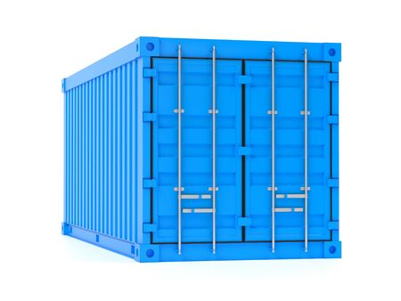 Shipping freight container. Blue intermodal container. 3d rendering illustration isolated on white background Zdjęcie Seryjne