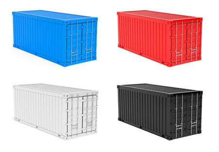 Shipping intermodal containers. Colored collection. 3d rendering illustration isolated on white background Stock Photo