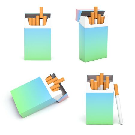 Colored packs of cigarettes. 3d rendering illustration isolated on white background