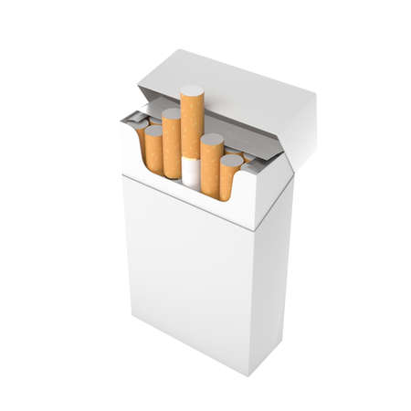 White blank pack of cigarettes. With brown filter. 3d rendering illustration isolated on white background Stock Photo