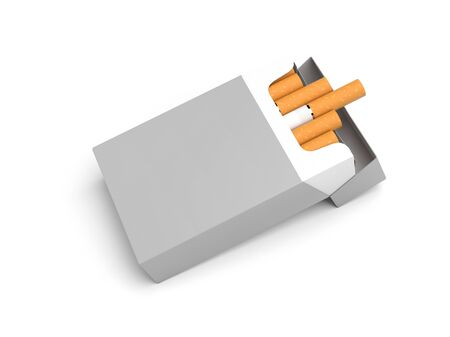 White pack of cigarettes. 3d rendering illustration isolated on white background Zdjęcie Seryjne - 150524930