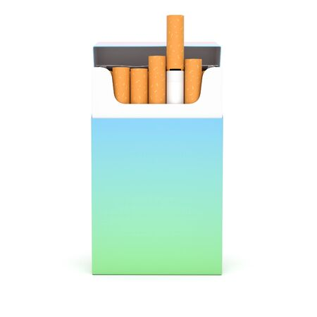 Open pack of cigarettes. Colored blank paper package. 3d rendering illustration isolated on white background