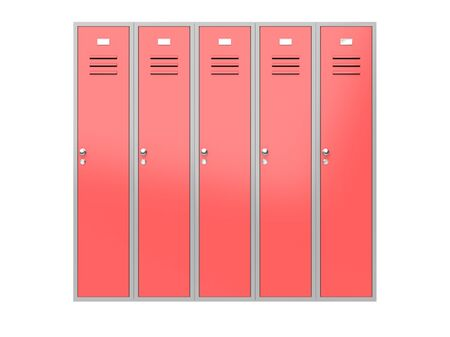 Red gym closed lockers. 3d rendering illustration isolated on white background