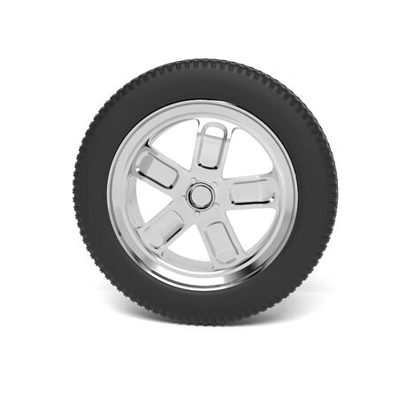 Car wheel. 3d rendering illustration isolated on white background