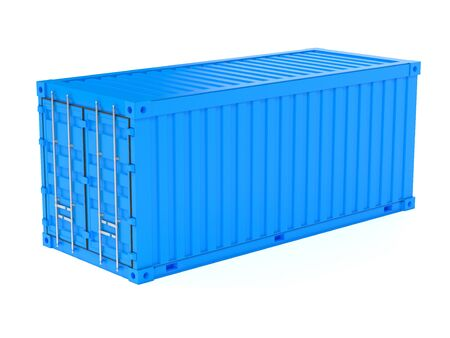 Shipping freight container. Blue intermodal container. 3d rendering illustration isolated on white background Stock Photo