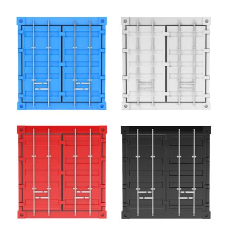 Shipping freight containers. Front view. Colored set. 3d rendering illustration isolated on white background Stock Photo