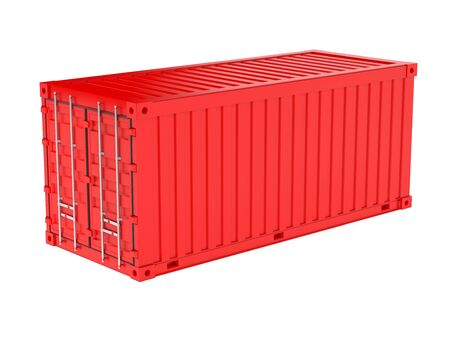 Shipping freight container. Red intermodal container. 3d rendering illustration isolated on white background Stock Photo