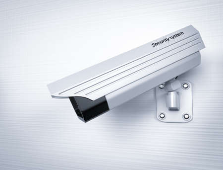 White CCTV camera on the wall. 3d rendering illustration.