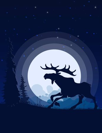 Moose silhouette moonlight. Landscape Flat Design.
