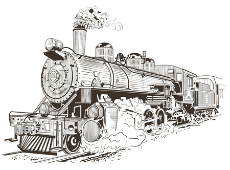 Old train in a vintage lithograph style, locomotive. Çizim