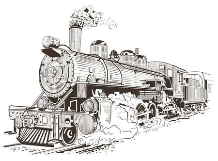 Vieux train dans un style de lithographie vintage, locomotive.