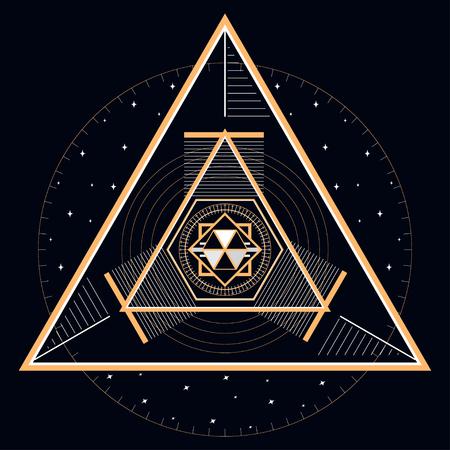 Abstracte geometrische illustratie van mystieke gouden lijn en sterren. Handig voor verpakking, webachtergronden en stoffenontwerp.