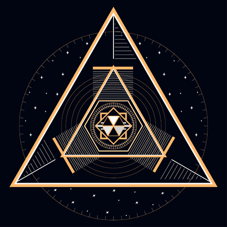 Illustration géométrique abstraite de la ligne d'or mystique et des étoiles. Utile pour l'emballage, les arrière-plans Web et la conception de tissus. Banque d'images - 92402423