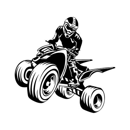 Quad-fietssilhouet, ATV-ontwerp op een witte achtergrond. Stock Illustratie