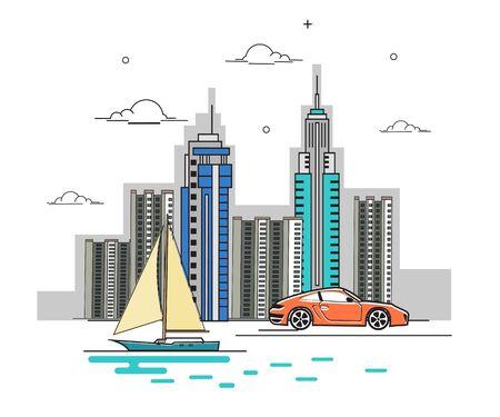 Line Art Vector Illustration of Modern Big City Background with Skyscrapers. Flat design Style. Illusztráció