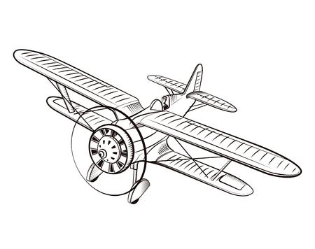 Bipane line drawing, illustration in vintage style. Illustration