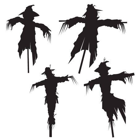 Set of scarecrows silhouette, vector illustration Illusztráció