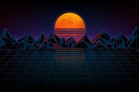 Futuristic background retro wave. Night digital landscape, moon, mountains and a laser grid. Illusztráció