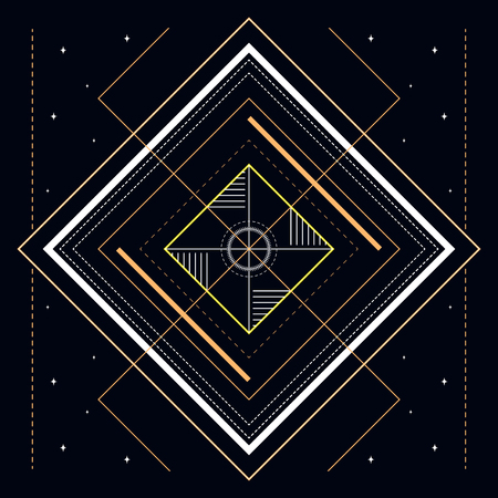 Abstract geometric illustration of mystic golden line and stars useful for wrapping, web backgrounds and fabric design.