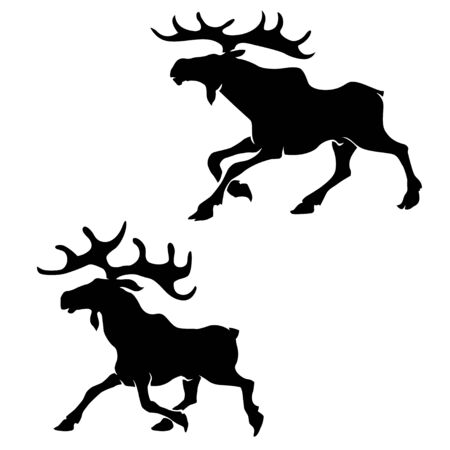 Moose silhouette vector illustration.