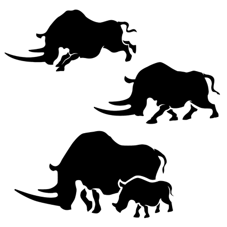 Rhino vector silhouettes.  Illusztráció