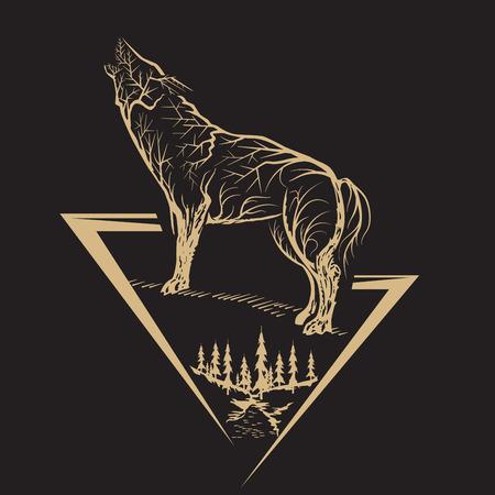 Golden howling wolf on the black background. Line vector illustration. Illusztráció