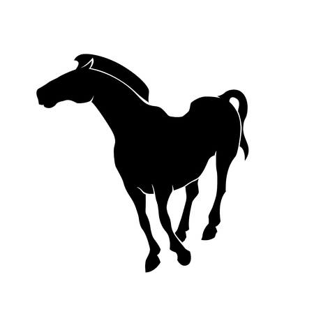Running horse black silhouette. Illusztráció
