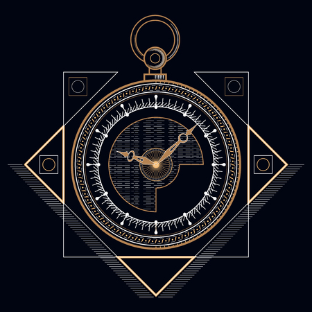 Golden pocket clock, mystic golden line. Head drawn geometric shapes, thin line.