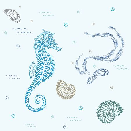 sea life pattern with fish, seaweed and shells