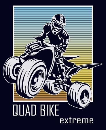 Quad bike extreme vector illustration for t-shirt print.