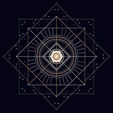 mystieke gouden lijn en sterren, abstracte vectorillustratie. Stock Illustratie