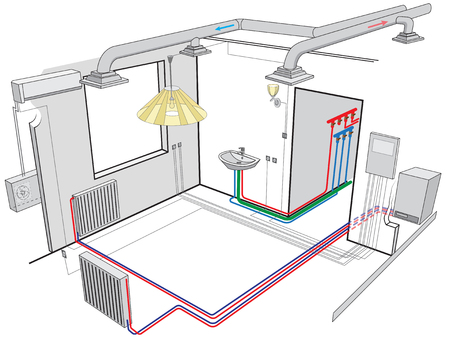 Vector isometric apartment cutaway.Indoor ventilation system and independent heating system in boiler-house