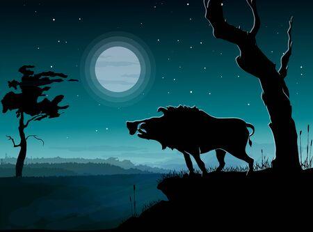 Wild boar, night landscape. Vector illustration.