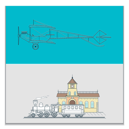 Retro biplane and old train, can be used for posters and cards, line vector illustration. Illusztráció