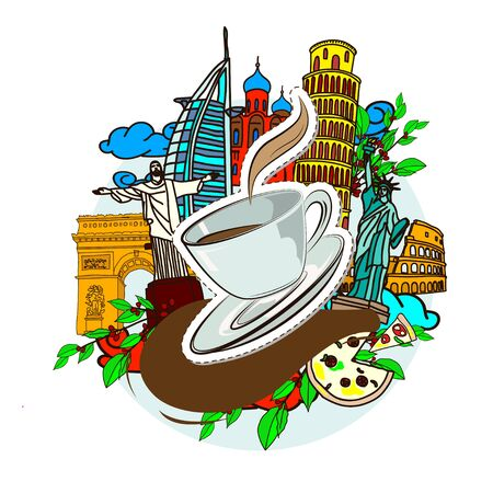 Doodle of a cup of coffee, and famous buildings of the world. Vector illustration.