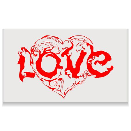 Lettering love whith heart. Calligraphy postcard or poster graphic design typography element. Hand written vector style happy valentines day sign.
