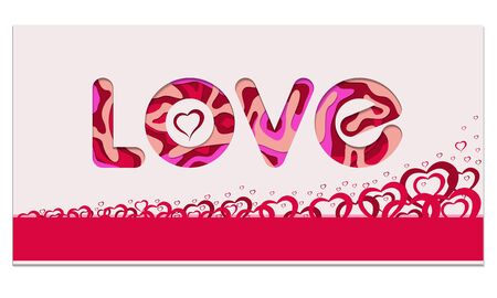 Love, Happy Valentine's Day red banner. Wallpaper, flyers, invitation, posters, brochure, voucher, banners.